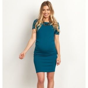 PinkBlush Teal Short Sleeve Fitted Maternity Dress